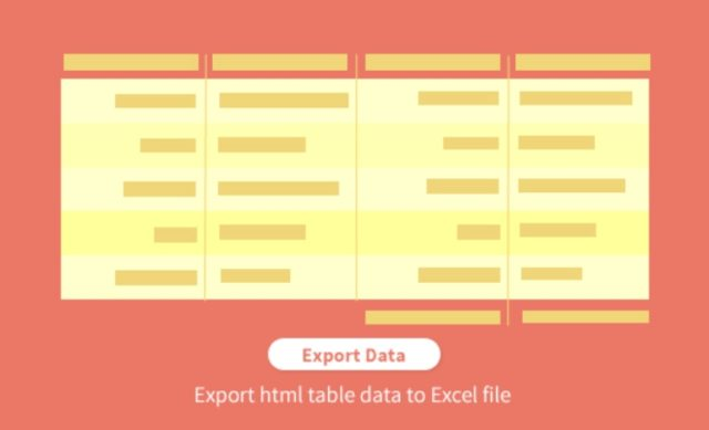 export html table data to an Excel file