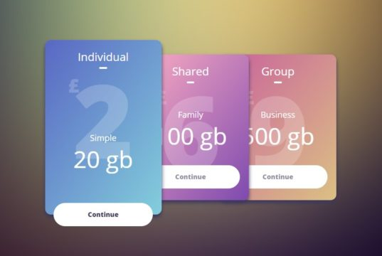 Beautiful Gradient Pricing Table